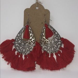 Silver and Red TASSEL Earrings